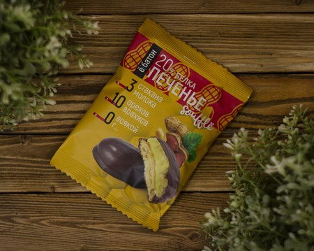Печенье протеиновое ™  Ё батон   20 % белка со вкусом АРАХИСОМ с белковым суфле в глазури 50 гр - фото 8037