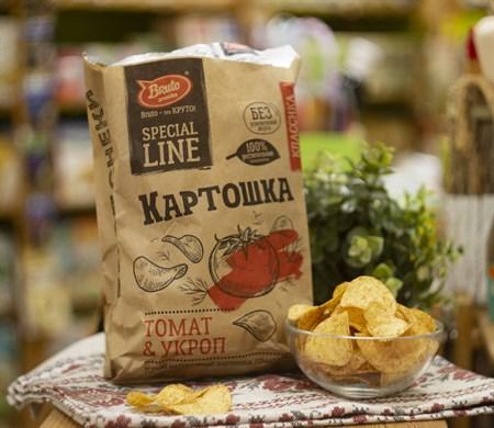 Чипсы картофельные ™  Bruto snacks  Томат и укроп 150 гр. - фото 8065