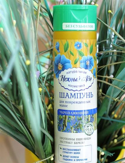 Шампунь ™  Нежный лен   Укрепляющий  для поврежденных волос, 250 мл - фото 6260