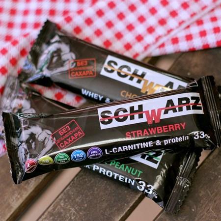 Батончик протеиновый ™  SCHWARZ  33%  Клубника в йогурте  с выс. содерж. протеина 50 гр. - фото 6270