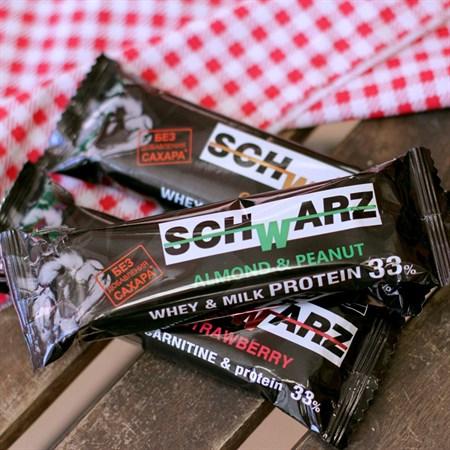 Батончик протеиновый ™  SCHWARZ  33%  Миндаль и Арахис  с выс. содерж. протеина 50 гр. - фото 6271