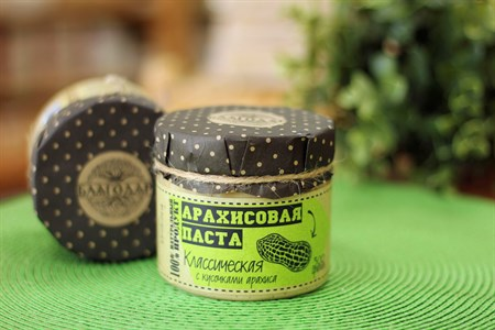 Арахисовая паста ™  Благодар  с кусочками арахиса, 300 гр - фото 6383
