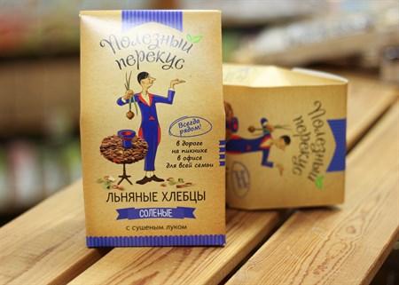 Хлебцы Льняные ™  Полезный перекус  с луком, 100 гр. - фото 7188