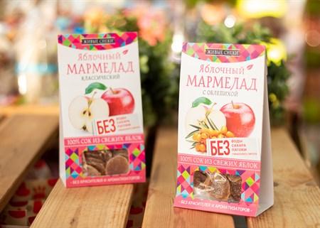 Мармелад ™  Живые Снеки  яблочный с облепихой 90 гр - фото 7231