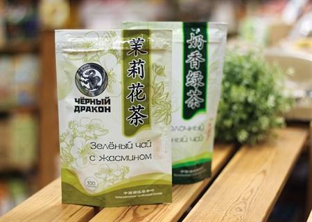 Чай ™  Черный дракон  Зелёный цветки жасмина 100г - фото 7258