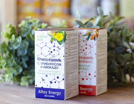 Растительные сиропы ™  Altay Energy  Фитотоник Стевия Man с ТРИБУЛУСОМ и авокадо 250 мл - фото 7818