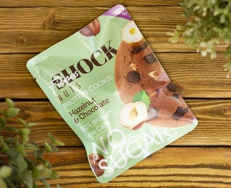 Печенье протеиновое NUT ™  Shoсk Fitnes  Hazelnut Chocolate ( Шоколад-Фундукд) 40 гр - фото 7918
