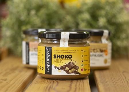 Паста шоколадная ореховая ™  Dop Drops  SHOKO MILK Сhocolete Peanut Butter 250 гр. - фото 7963