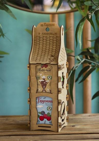"""Подарочная шкатулка ™ """"Мама Карелия"""" Варенье брусника с черникой и Иван-чай с брусникой - фото 8130"""