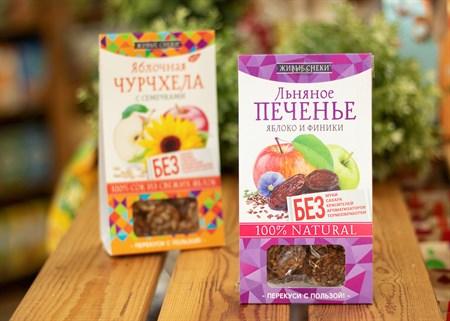 Печенье ™  Живые Снеки  льняное  Яблоко и финики  60 гр - фото 8198