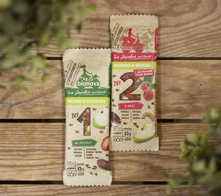 Батончики ™  Bionova  фруктово-ореховый с яблоком и клубникой 35 гр. - фото 8234