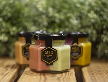 Мед-суфле ™   Мусихин. Мир меда  с клубникой, с мятой 180 гр - фото 8315