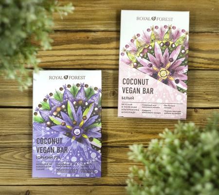 Шоколад ™  Royal Forest  КОКОСОВЫЙ Coconut Vegan Bar ГОРЬКИЙ 70 % 50 г. - фото 8553